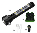 Solar Multi-function LED Flashlight, USB Rechargeable
