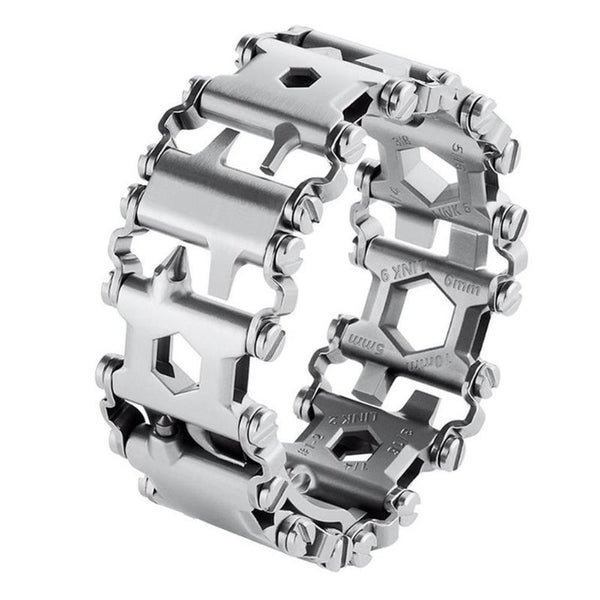 Stainless Steel Multitool Bracelet on white background