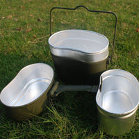 Basic German Military Issue 3-in-1 Aluminum Camping Cookware Set