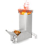 Compact Stainless Steel Rocket Stove, Wood Burning