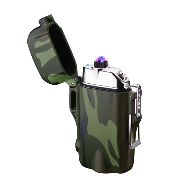 2-in-1 LED flashlight + Waterproof & Windproof, USB Rechargeable Dual Arc Plasma Lighter