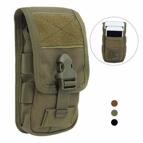 "MOLLE Utility Shoulder Strap Bag, Phone Holder, Waist Belt (3.5"" x 11.4"" x 1.5"")"