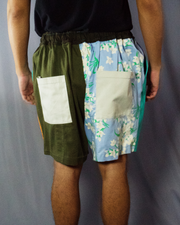 green block and mixture of brown and floral print short