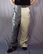 grey and beige tailored trousers