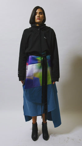 archive arto print and denim skirt
