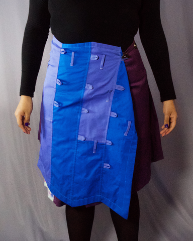 mulberry and blue blocks skirt