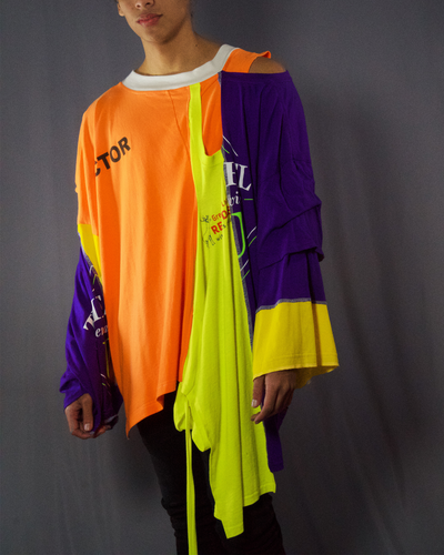 orange, neon yellow and purple t-shirt - ARTO