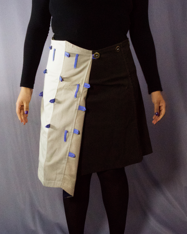 beige and brown cotton skirt