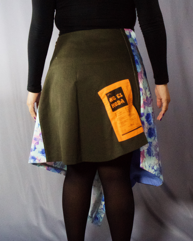 patchwork floral cotton skirt