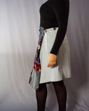 grey and denim mix of floral print skirt - ARTO