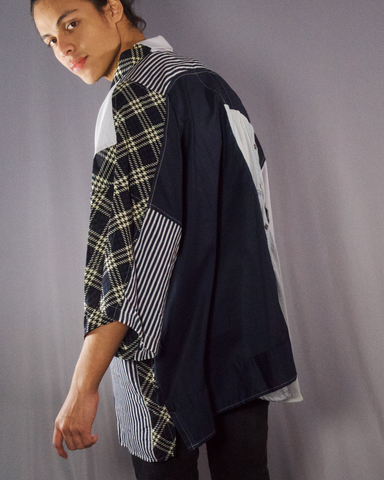 denim with stripes prints shirt - ARTO