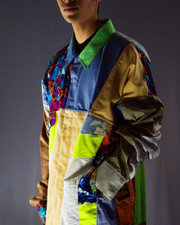 sky blue and neon earth tones jacket