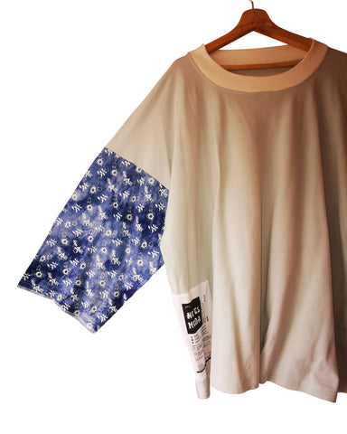 soft sky blue and floral print t-shirt - ARTO