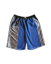 navy blue and grey bermuda short