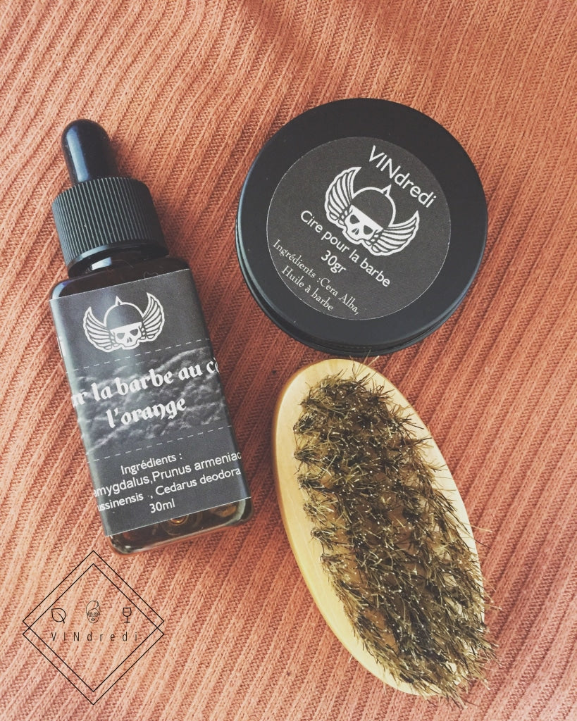 Vegan beard oil & beard balm & beard brush cedar & orange 30ml 🍊 - VINdredi Beauté