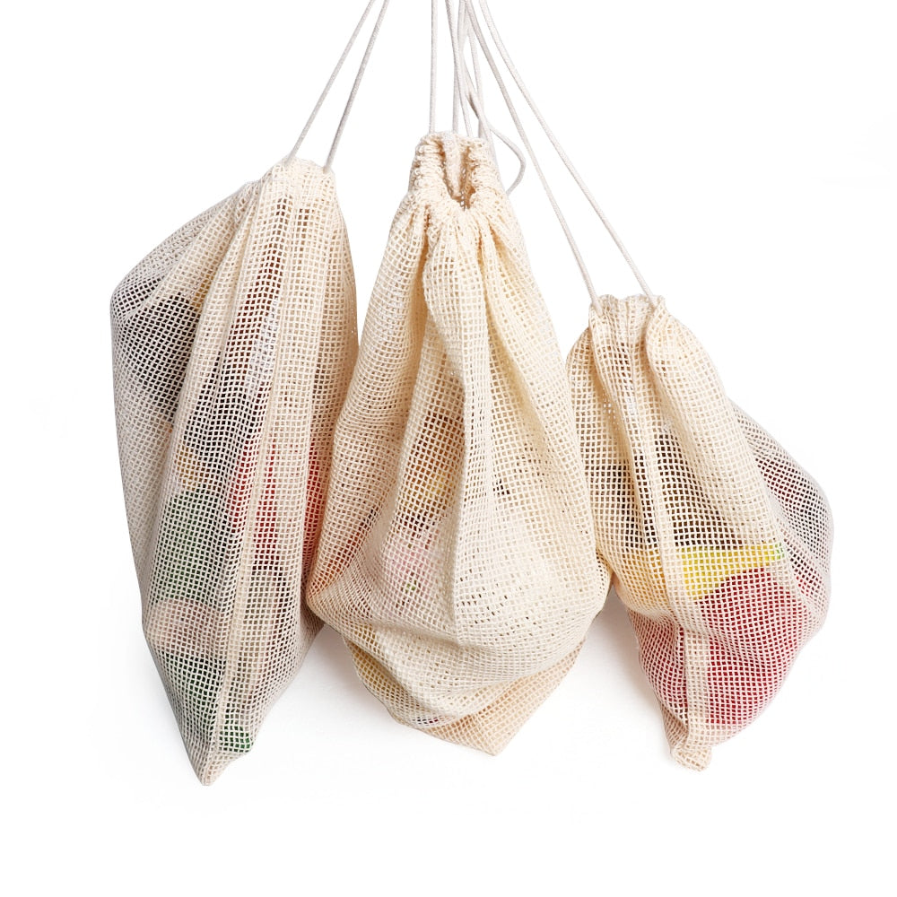 Reusable Cotton Mesh Grocery Bag Collection