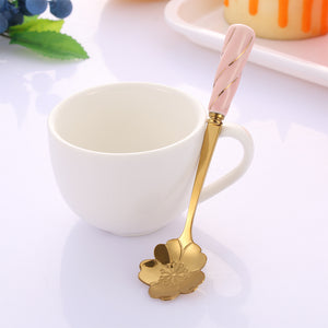 Creative Cherry Blossom Rose Flower Spoon Gold