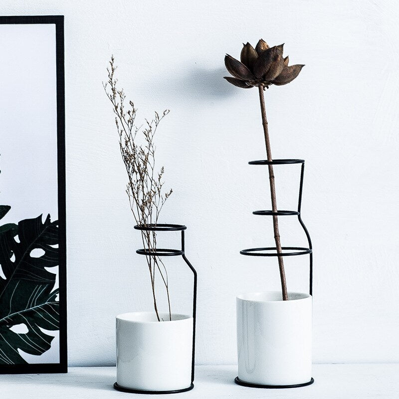 Ceramic Black Iron Vase