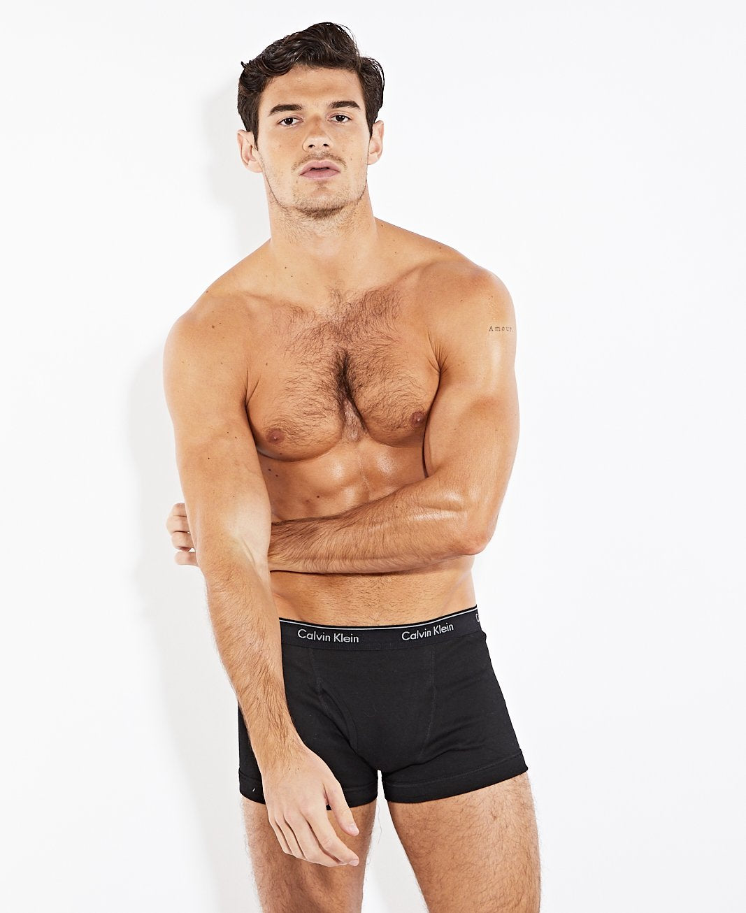 Calvin Klein 3 Pack Cotton Fly Trunks Black