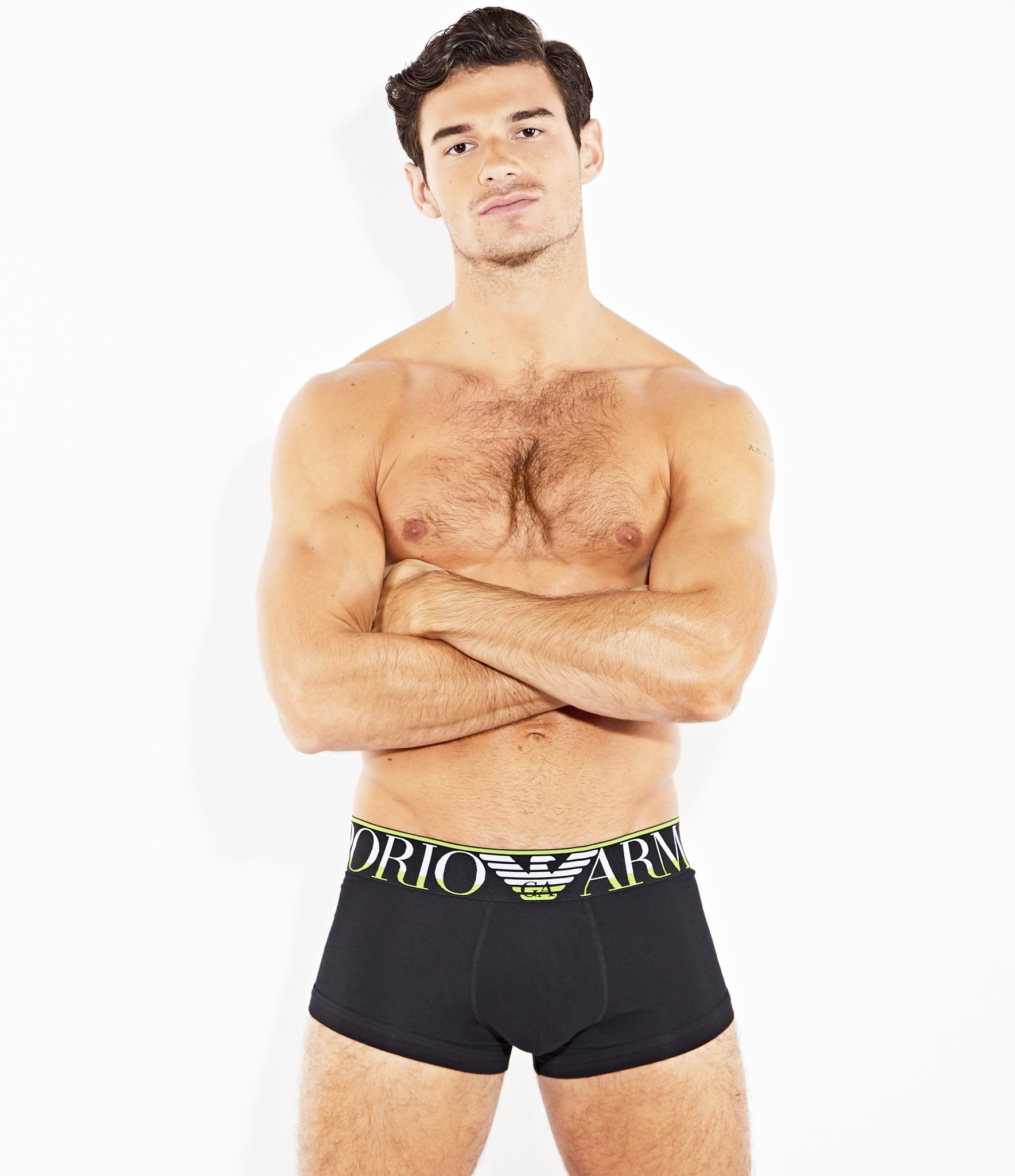 Emporio Armani Megalogo Black Stretch Cotton Trunk