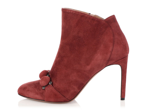 Alaia Suede Burgundy Booties