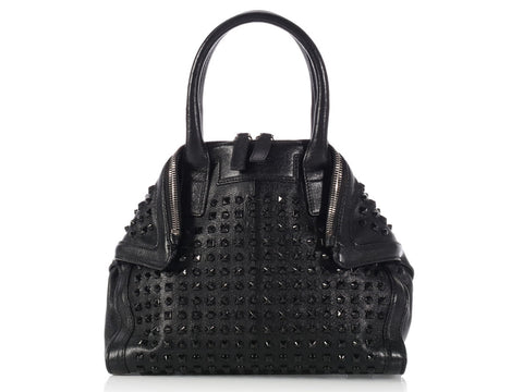 Alexander McQueen Black Studded Mini de Manta