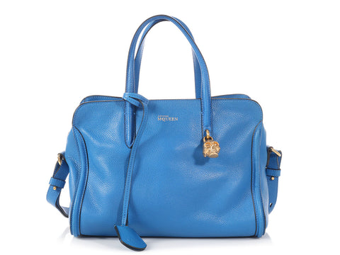 Alexander McQueen Royal Blue Skull Padlock Zip Around Tote