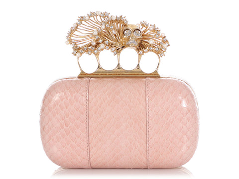 Alexander McQueen Pale Pink Snakeskin and Pearl Box Clutch
