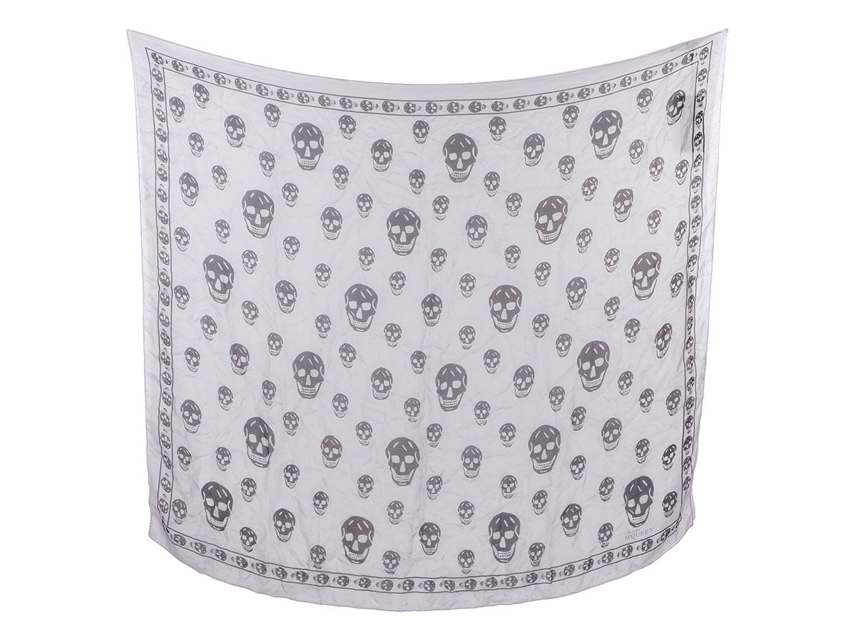 Alexander McQueen Lavender and Purple Skull Silk Scarf