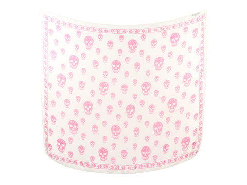 Alexander McQueen White and Pink Skull Silk Scarf