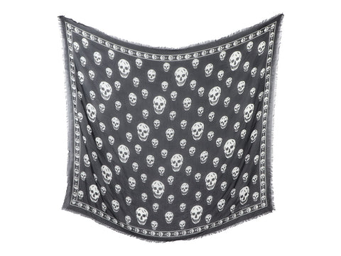 Alexander McQueen Black and White Skull Modal Shawl