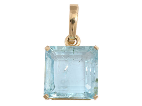 18K Yellow Gold Aquamarine Pendant