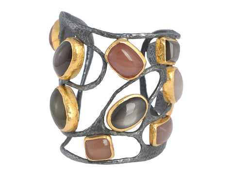 ARA Collection Sterling Silver and 24K Gold Multistone Cuff