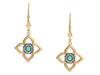 Arman Sarkisyan 22K Yellow Gold, Sterling Silver, Emerald, and Diamond Flower Pierced Drop Earrings