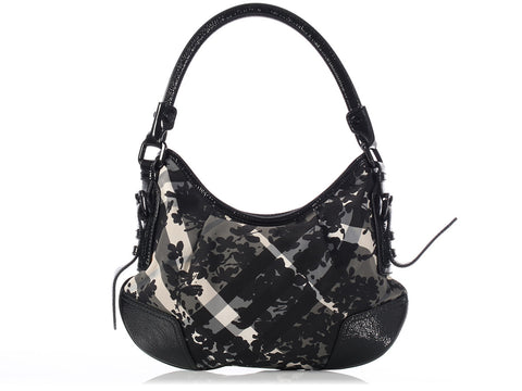 Burberry Small Floral Beat Check Hobo