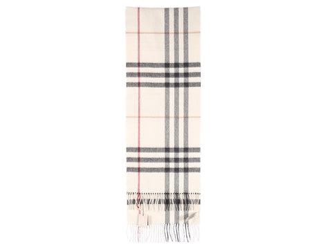 Burberry Beige Giant Check Cashmere Scarf