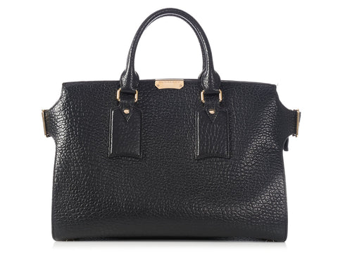 Burberry Large Black Grained Leather Clifton Tote