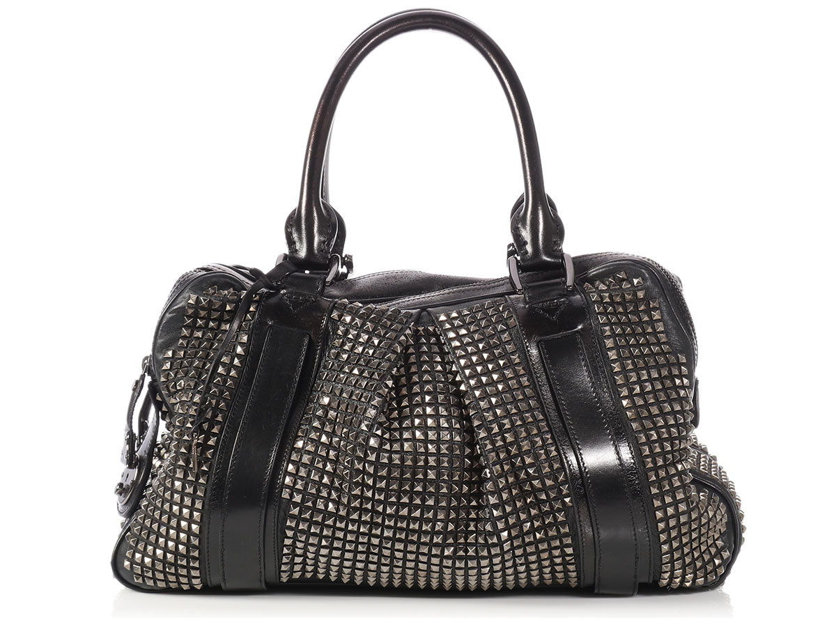 Burberry Large Black Studded Knight Bag