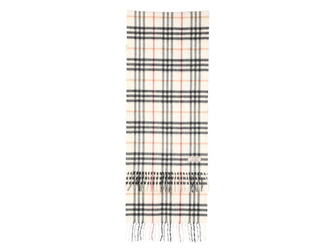 Burberry White Giant Check Cashmere Scarf