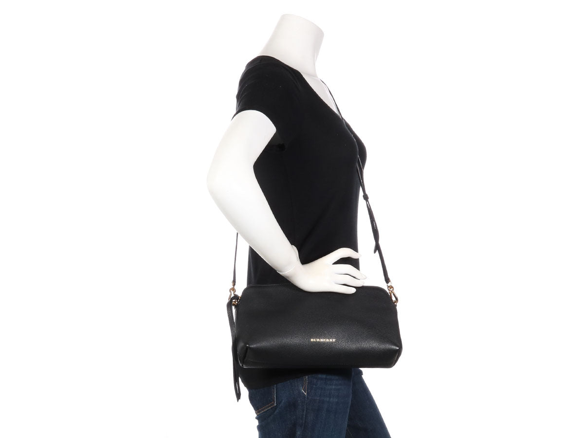 Burberry Black Grained Leather Convertible Clutch ab25223f1d6e8