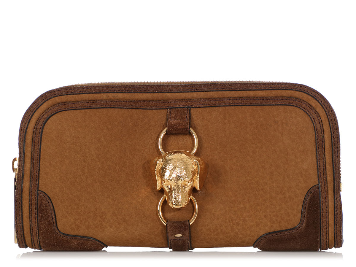 Burberrry Prorsum Brown Nubuck Alma Dog Clutch
