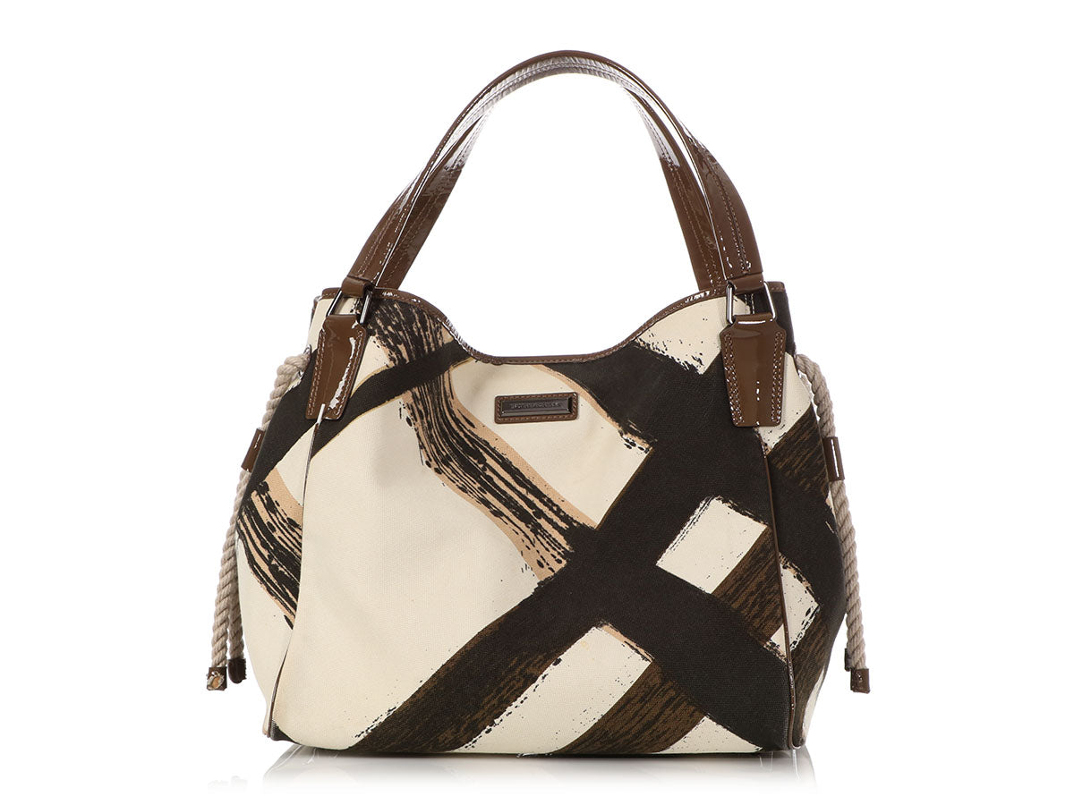 236d4aa242 Burberry Painted Check Canvas and Patent Tote