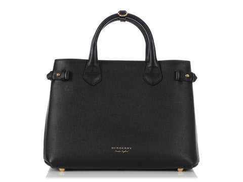 Burberry Black Leather Banner Tote