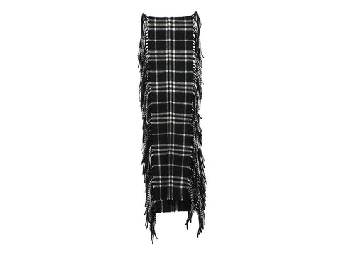 Burberry Black and White Check Cashmere Scarf