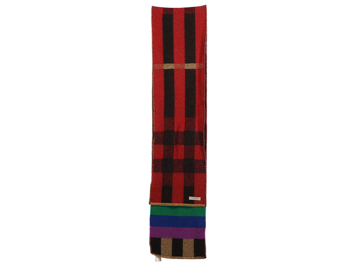 Burberry Rainbow Reversible Mega Check Cashmere Scarf