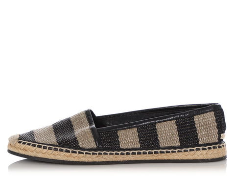 Burberry Black and Beige Striped Espadrilles