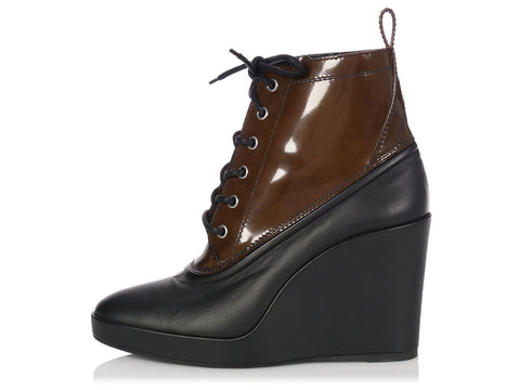 Balenciaga Black and Brown Wedge Booties