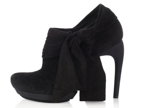 Balenciaga Black Suede Bow Booties