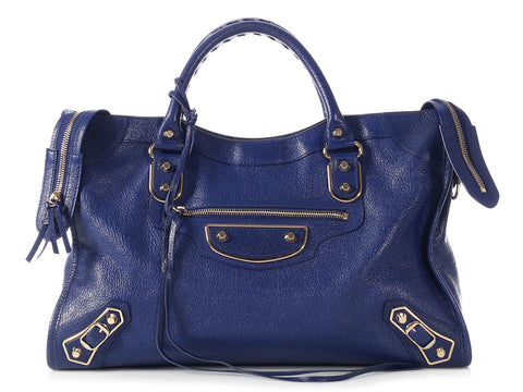Balenciaga Blue Classic Metallic Edge City