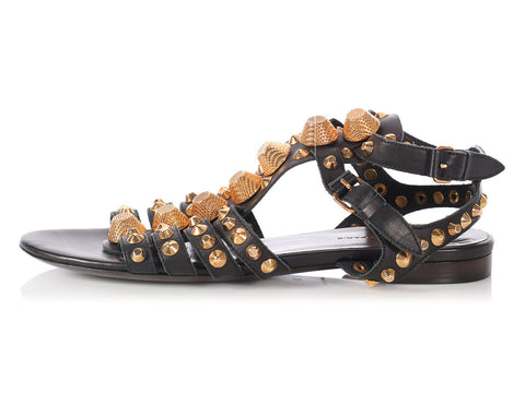 Balenciaga Black Arena Gladiator Sandals